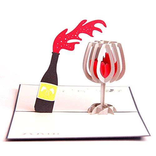 UNIQUEplus, Biglietti di auguri pop-up 3D, tema vino rosso, per compleanno, festa della mamma, Natale, ringraziamento, anniversario, matrimonio o qualsiasi occasione