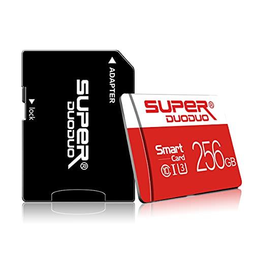 Scheda di memoria Micro SD da 256 GB con adattatore scheda SD (classe 10 High Speed) per telefono, Nintendo Switch, Dashcam, monitoraggio, fotocamera, tachigrafi, tablet, computer, drone