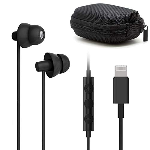 Lighting Headphones,MAXROCK Sleep Earbuds with Lightning Connector Sleep Headphone Earphones for iPhone X/XS/XS Max/XR iPhone 8 iPhone 7/7 Plus Apple iOS with Microphone and Volume Remote (Black)