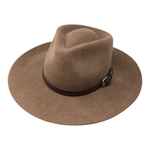 B&S Premium Lewis - Sombrero de ala Ancha Fedora - 100% Fieltro de Lan