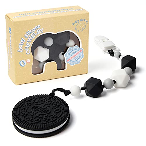 Teething Toys for Babies 6-12 Months - BPA Free Silicone - Cute and Highly Effective Cookie Teether with Pacifier Clip - Teethers Toy Best for 0-6 Months Stylish Boy or Girl - Baby Shower Gifts