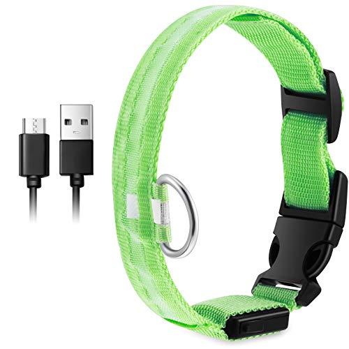 LED Sicherheit Hunde Halsband USB Wiederaufladbares Haustier Licht Halsband LED Leuchtend Haustier Halsband Halskette Wasserdicht Blinklicht Leucht Halsband mit 3 Leuchtenden Modi (Grün)
