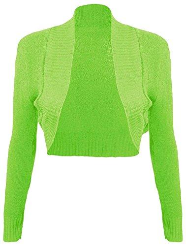 Momo&Ayat Fashions Ladies Girls Knitted Bolero Plain Ribbed Collar Shrug US Size 6-12 (M/L (US 10-12), Lime)