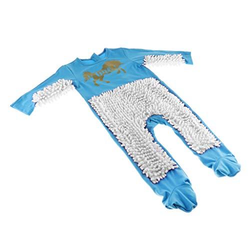 perfeclan Baby Kleidung Wischmop Strampler Reinigungsmop Overall Kleinkinder Jumpsuit Babykleidung zum Krabbeln - Himmelblau + Weiß, 73cm