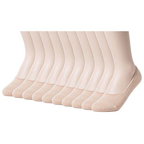Sockstheway Womens Anti-Slip No Show Socks, Low Cut Liner Socks, Large, Beige, 10 Pairs