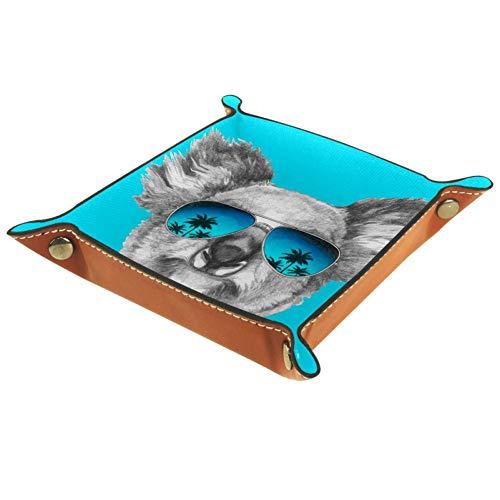 Laire Daniel Koala Espejo Gafas de Sol Joyero de Piel con Hebilla de Almacenamiento de Dados de Broche de Almacenamiento Bandeja Organizador de Joyería para Hombres Key Wallet Caja de Monedero de Viaje de PU Valet Bandeja,, Multi02, 16x16cm