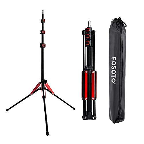 FOSOTO 軽量 ライトスタンド 撮影 スタンド ストロボスタンド アルミ製 4段 スタジオ用 携帯 折り畳み ソフトボックス サポート (レッド)