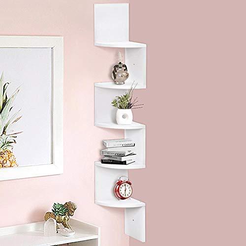 BAKAJI Libreria Scaffale Mensole da Parete Angolare Design Moderno in Melamina Effetto Legno con 5 Ripiani ad Angolo Dimensioni 123 x 20 cm (Bianco)