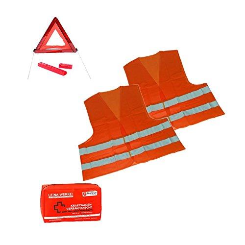 1 x Sicherheits-Set Erste Hilfe Notfallset Urlaub Österreich/Tschechien 4-TEILIG - 1x Verbandstasche; 2x Warnweste DIN ISO 20471 Erwachsene; 1x Warndreieck