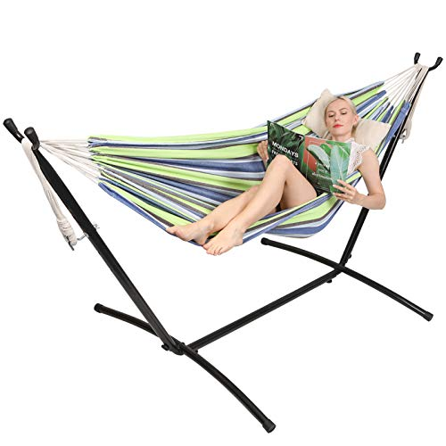 Kanchimi Hammock with Stand,Max Load 450lbs,Portable Double Hammock for para Patio,Indoor Outdoor Hammock with Stand 2 Person Heavy Duty,Premium Carrying Case Included(Bluegreen)