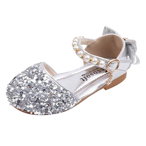 Zylione Kinder Mädchen Mode Pailletten Perlenbogen Party Prinzessin Schuhe Sandalen