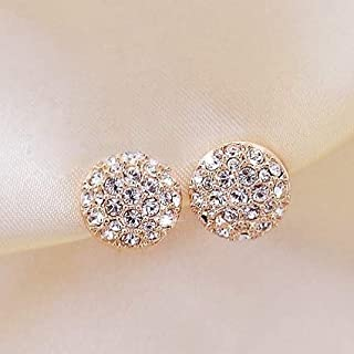 Earrings, Refined Atmosphere Noble Elegance Full Diamond Round Jewelry Stud Earrings with Bag (Color : Gold, Size : One Size)
