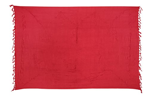 Ciffre Premium Sarong Pareo Wickelrock Strandtuch Lunghi Dhoti Schlicht Blickdicht Tolle Stickerei Rot + Schnalle