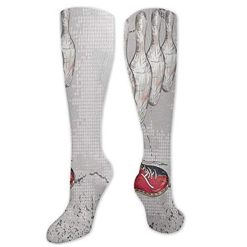 Bowling Party Fashion Compression Socks,Bowling Shoes Pins And Ball In Artistic Grunge Performance Polyester Cushioned Athletic Crew Socks for Running,Athletic,Pale Grey Red And Dark Blue- 19.8 inch