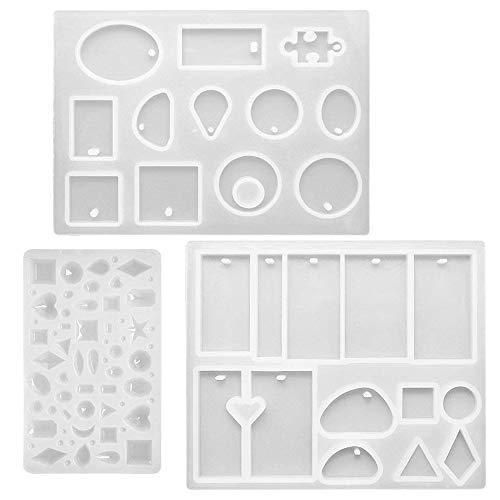 FineGood - Moldes de resina de silicona para manualidades, 3 unidades, con...