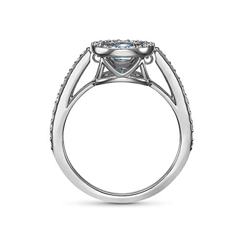 Swarovski 125 Anniversary Sparkling Dance Women's Round Ring with White and Blue Crystals in a Rhodium Plated Setting, size 55