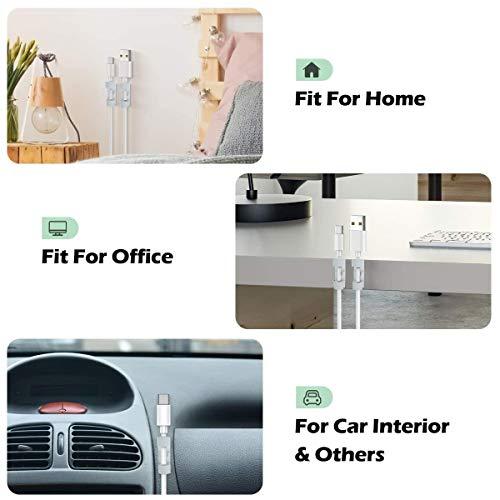 80 PCS Clips Câbles Adhésifs Rangement de Câbles Fixation Auto Collant, Avec Premium Adhésif et vis Gestion de Câble Support Organiseur de Fils Electriques pour TV/PC/Bureau(Blanc)