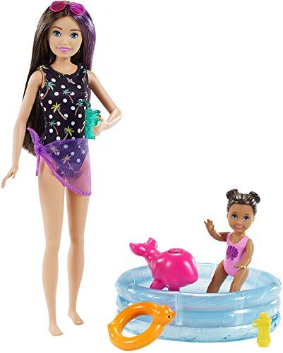 Barbie Skipper Muñeca canguro con bañador y bebé, con piscina de juguete y accesorios de agua (Mattel GRP39)