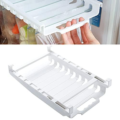 Bolsa de comida para refrigerador, estante de riel de almacenamiento colgante con 50 piezas, bolsa con cierre hermético marcable, mantiene el refrigerador ordenado