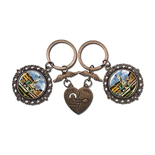 Hqiyaols Keychain Italien Piazza Della Signoria Brunnen Florenz Paar Schlüsselbund Valentinstag Geschenk Schlüsselanhänger Souvenir Kristall Metall 2 teile/satz