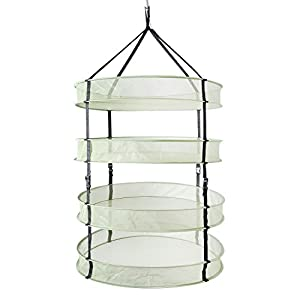 iPower 2ft 4Layer Green Mesh Hanging Herb Drying Rack Dry Net With Foldable Heavy Rings, Collapsible Hydroponic plant Bud Heavy Duty Hang Dryer Net