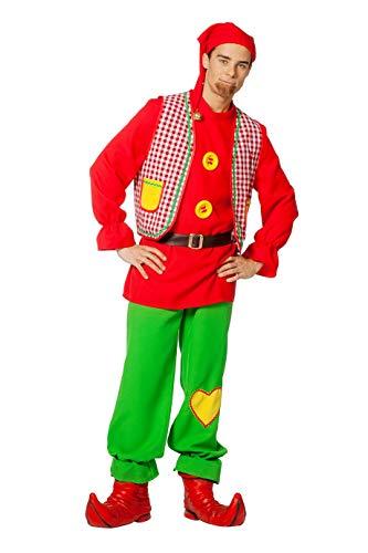 The Fantasy Tailors Zwergen-Kostüm Herren Oberteil mit Weste, Hose, Gürtel und Zipfelmütze Gartenzwerg Fantasy Märchen Karneval Fasching Theater Hochwertige Verkleidung Fastnacht Größe 58 Multi