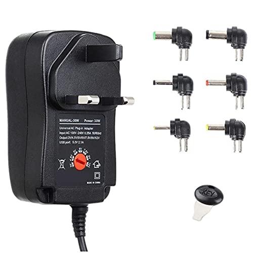 Adaptador de corriente 30W 3-12V Cargador ajustable con adaptador USB 6DC para la tira de luz HUB STYLE3 DURANTE