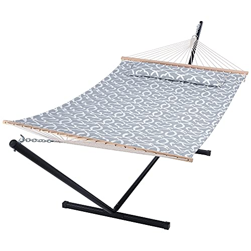 SUNCREAT 55 Inch Extra Large Double Hammock with Stand, 475lbs Capacity, Outdoor Portable Hammock...