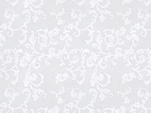 Vorhangstoff Gardinenstoff Organza Spitze Casa Nova Barock Ornamente weiß hochwertiger Stoff für Vorhänge und Dekostoff als Meterware, Ausbrenner, Print, Tüll