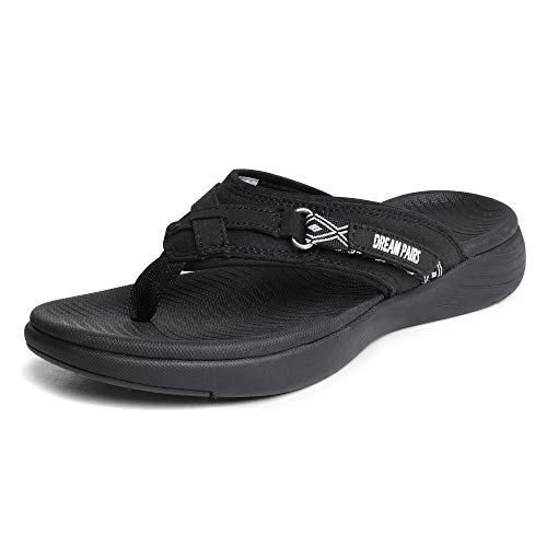 DREAM PAIRS Women's Breeze-1 Arch Support Flip Flops Comfortable Thong Sandals, Black, Size 5.5