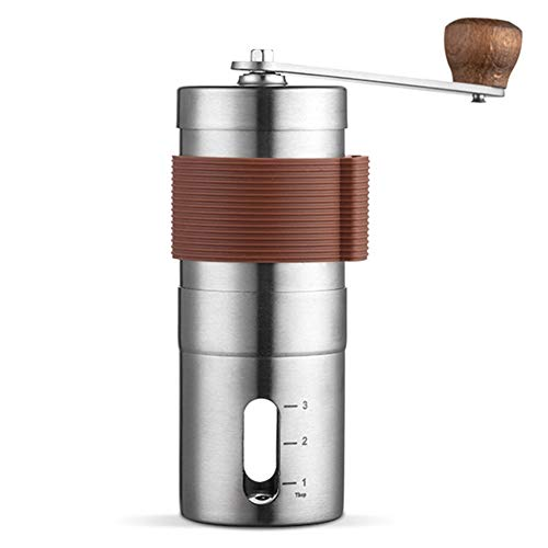 BCXGS Manual Coffee Grinder Adjustable Ceramic Conical Burr Mill Portable Hand Crank Brushed Stainless Steel Coffee Bean Grinder for your Home, Office or Travelling, Silver