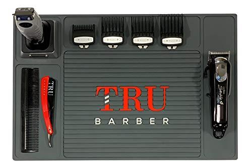 TRU BARBER Organizer Mat 19' X 13' (Charcoal Grey) Flexible PVC Station Mat, Salon Barbershop work station pads, Beauty salon tools, Counter mat for clippers, anti slip