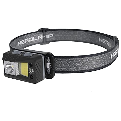 JJYGYTG Linterna frontal LED Mini sensor de movimiento 7 modos linterna recargable impermeable para caza camping (color emisor: B)