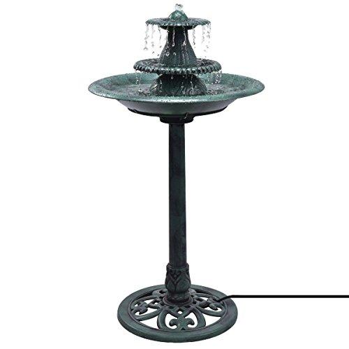 Giantex 3-Tier Pedestal Bird Bath Fountain W/Pump Polyresin Water Fountain Indoor Outdoor Decor Vintage Yard Art