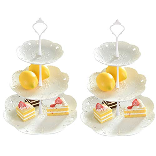 3-Tier Cupcake Stand Dessert Plate Display Fruit Candy Buffet Tower Serving Tray for Thanksgiving Wedding Home Birthday Party Christmas Baby Shower (2Pcs Round)