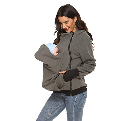 Womens Baby Carrier Cover Maternity Kangaroo Hooded Fleece Zipper Up Sweatshirt for Baby Carriers (Grey,X-Large)