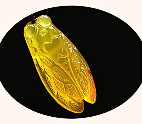 Z-GJM Braziliaanse Natuurlijke Ijs Soorten Cicada Geel Chalcedonie Hanger Jade Hangers Lucky Transport Chain Paar Trui Geef Jezelf, Stuur Liefde, Stuur hun Ouderen, naar Vrienden A