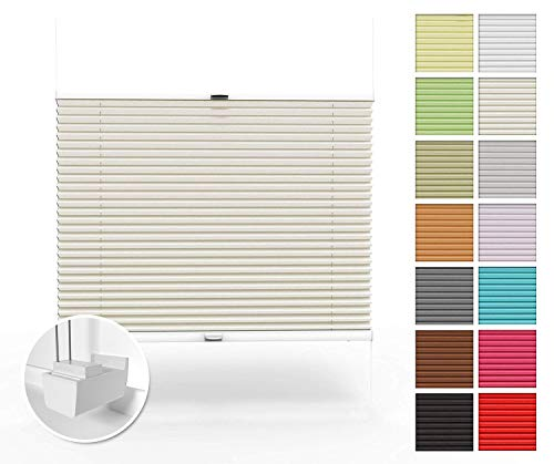 Home-Vision Premium Plissee nach Maß, ohne Bohren mit Klemmträger, Blickdicht Jalousie für Fenster & Tür Sonnenschutzrollo (Creme, B121-130cm x H40-100cm)
