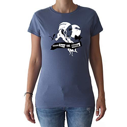 GAMBA TARONJA Dragons Save The Queen - Camiseta - Mujer - Game of Thrones - Khalessi - Juego DE Tronos (S)