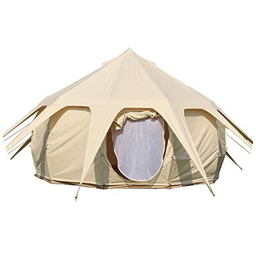Dream House Luxury Outdoor Waterproof Four Season Family Camping and Winter Glamping Cotton Canvas Yurt Bell Tent with Mosquito Screen Door and Windows Tent with Stove Pipe Vent
