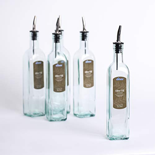 eHomeA2Z Italian Glass Oil And Vinegar Cruet 16 Oz, Olive Oil Dispenser With Stainless Steel Spout, Slight Green Tint (1, 16 oz)