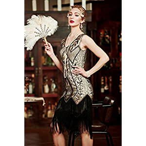 Metme Women's 1920s Vintage Flapper Fringe Beaded Great Gatsby Party Dress, Champagne, Large