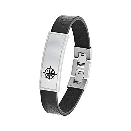 s.Oliver Leder ID-Armband für Herren, Edelstahl, Kompass
