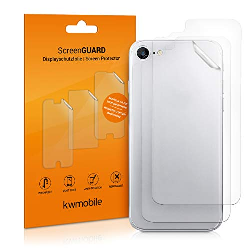 kwmobile 3X Schutzfolie Rückseite kompatibel mit Apple iPhone 8 / SE (2020) - Backcover Smartphone Folie - Handyfolie transparent