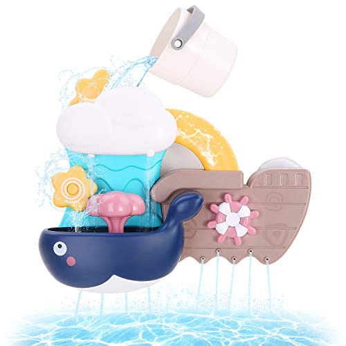 BBLIKE Bath Toys Bathtub Toy for Toddlers Kids 2 3 4 Year Old, Baby Bath Toys Bath Wall Toy Waterfall Squirt Water Fill Spin and Flow Shower Water Toys, Birthday Gifts for Boys and Girls Color Box