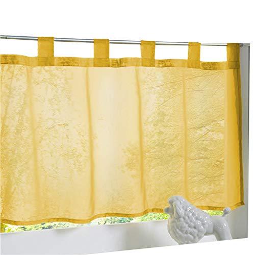ESLIR Visillo con trabillas para cocina, cortinas de Bistrogardinen transparente Stores Cortinas Voile amarillo BxH 45 x 90 cm 1 pieza