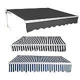 wolketon Toldo Balcón Terraza Patio Toldo Manual Plegable de Aluminio con Manivela, Impermeable Protección Solar UV para Jardín Exterior, 3.5x3.0m,Gris