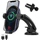 車載ホルダー 【全機種ワイヤレス充電対応】車載ワイヤレス充電器 【2021進化版】15W急速充電 車載Qi 自動開閉 スマホホルダー 車 磁気ヘッド付き 片手操作 2in1粘着式&吹き出し口 360度回転 LG/iPhone 12 mini Pro Max 11/Android/Samsung/Huaweiなど4.7-6.7インチ全機種ワイヤレス充電対応