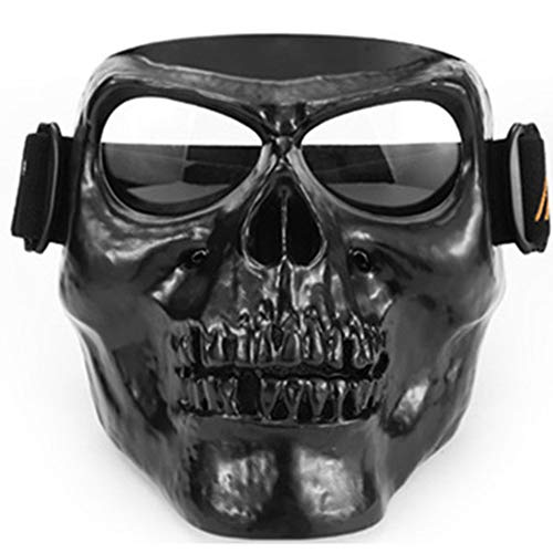 Motorcycle Goggles Skull Mask UV Proof Windproof Anti-Fog Protective Detachable Adjustable Tactical Glasses for Paintball/Skiing/Riding/Cycling/Halloween/Costume Ball
