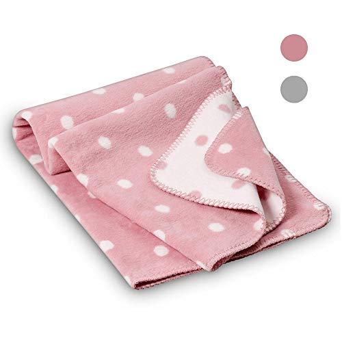 kids&me kuschelige Babydecke für Mädchen - perfekt für Babybett, Kinderwagen, Babyschale - MADE IN GERMANY - OEKO-Tex zertifizierte Bio-Baumwolle kbA - 70x100cm, rosa